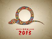 stock photo of happy new year 2013  - Happy New Year background with 2013 new year symbol snake - JPG