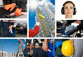 stock photo of workplace safety  - workers with equipment on building background sets - JPG