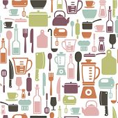 stock photo of ladle  - seamless pattern with colorful cooking icons - JPG