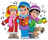 stock photo of christmas song  - Christmas carol singers theme 1  - JPG
