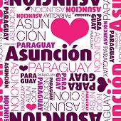 I love Asuncion Paraguay seamless typography background pattern in vector