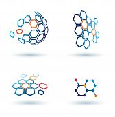 image of hexagon pattern  - hexagonal abstract icons business and communication concepts - JPG