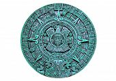 stock photo of mayan  - Mayan green ceramic calendar isolated on white background - JPG