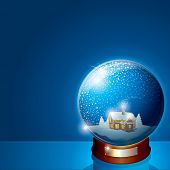 Glass Dome with Christmas Scene. Wooden House and Pine Forest on Winter Landscape. 3D Vector Illustr