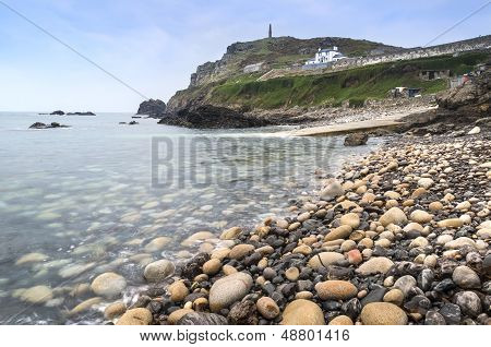 Pebble beach and headland landscape at Cape Cornwall