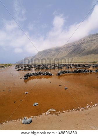 Famara Cliffs And Salinas Del Rio On Lanzarote