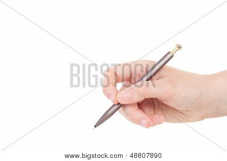 Caucasian Hand With Gray And Golden Colored Pen