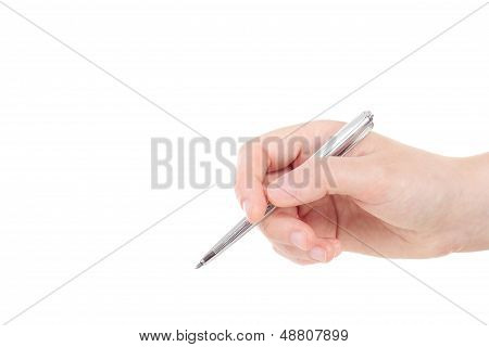 Caucasian Hand With Silver Coloured Pen