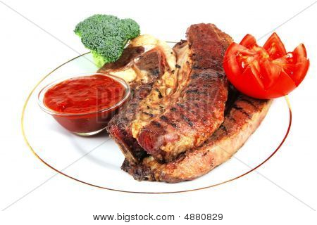 Roast Steak Served With Vegetables