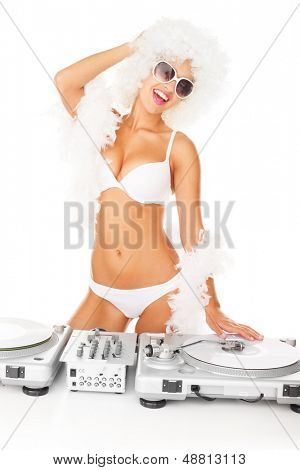 sexy dj afro woman on white djing