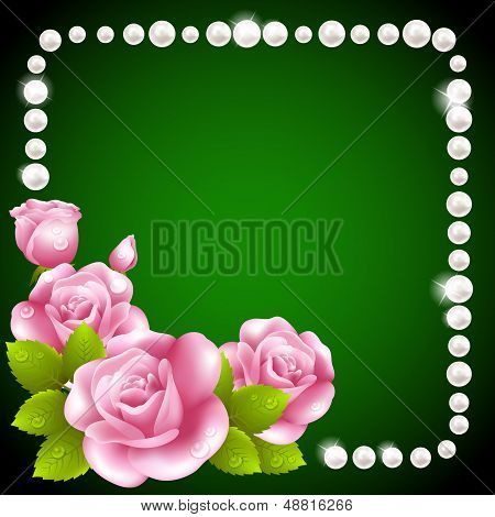 Pink rose and pearls frame