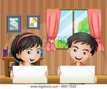 Illustration of the two kids with empty signboards inside the house