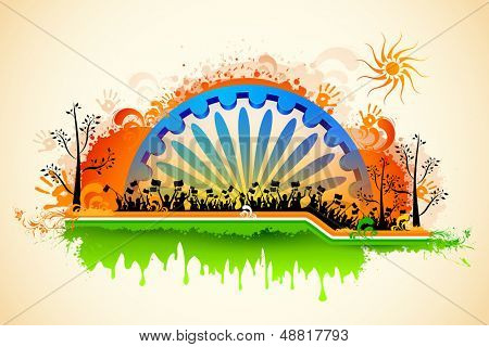 illustration of Indian citizen waving flag on tricolor flag