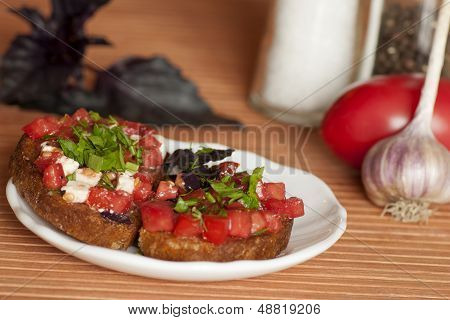 Italian Bruschetta with tomatoes and feta