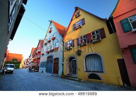Cozy street of town of Dinkelsbuhl. Germany