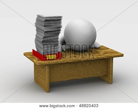 3D Man with Huge Todo Stack