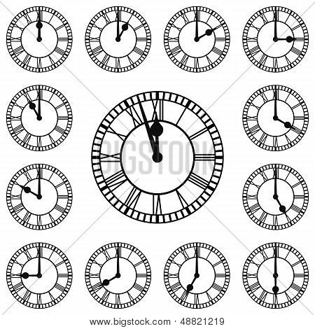 Roman Numeral Clocks Showing Every Hour