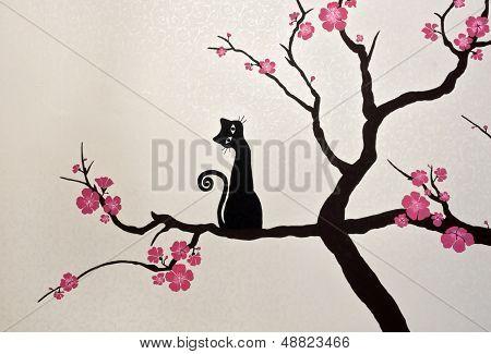 Cat Sitting On A Blooming Sakura Branch (wallpaper Painting)