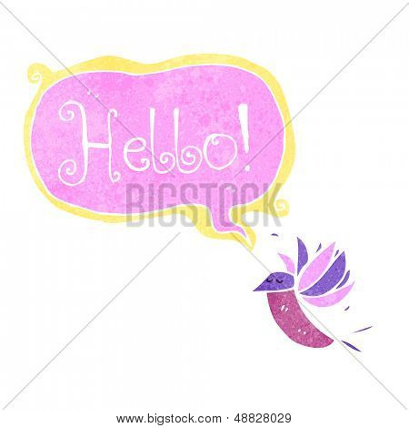 retro cartoon hummingbird saying hello