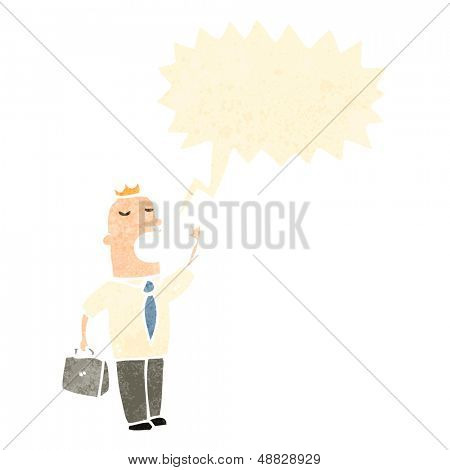 retro cartoon businessman talking loudly