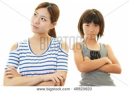 Dissatisfied child with mother