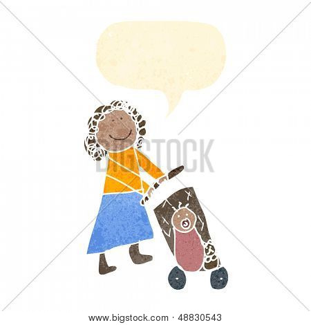 child's drawing of a woman with pushchair