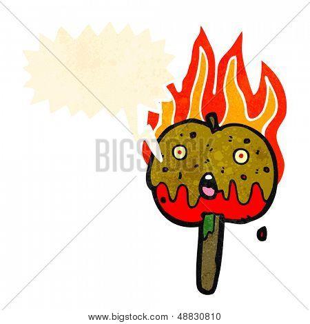 cartoon toffee apple with speech bubble