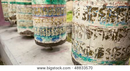Buddhist prayer wheels. Sagarmatha region, Tengboche, Nepal
