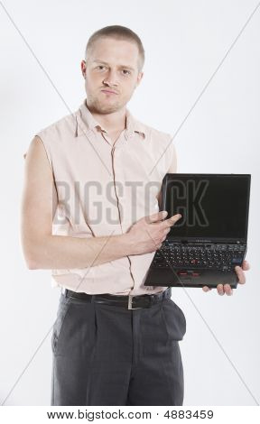 Unhappy Man With Notebook