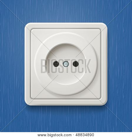White electric socket on the wall with blue wallpaper. Vector illustration