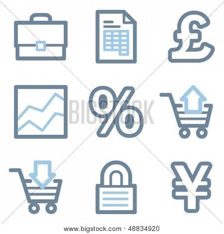 Business icons, blue line contour series