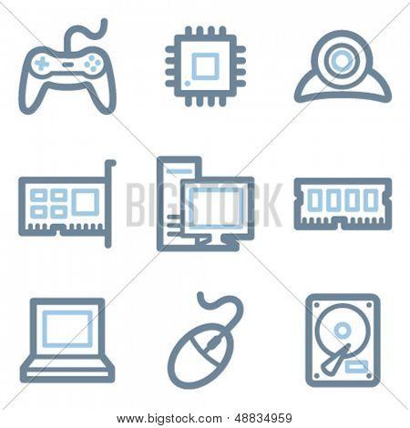 Computer icons, blue line contour series