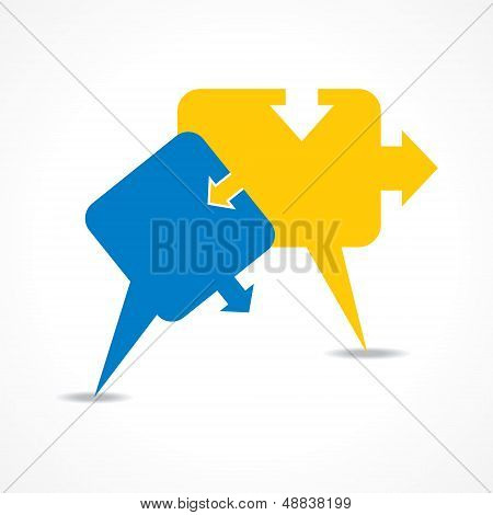 Abstract puzzle shape colorful design