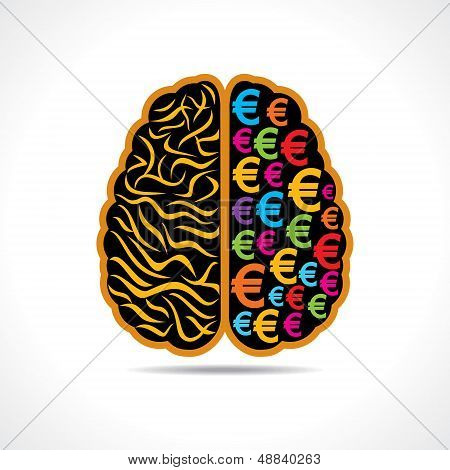 Conceptual idea silhouette image of brain with euro symbol
