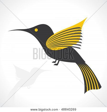 Grey and yellow bird icon