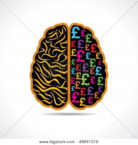 Conceptual idea-silhouette image of brain with pound symbol