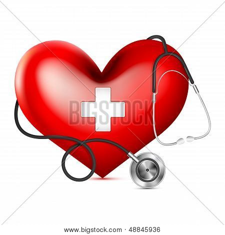 Stethoscope wrapping Heart
