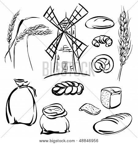 bread icons set vector  illustration