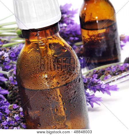 closeup of some dropper bottles with natural remedies and a pile of lavender flowers on a white background