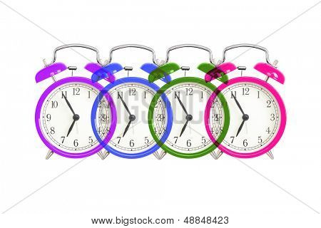 Alarm clock design on white. Colorful bell alarm clocks overlapping.