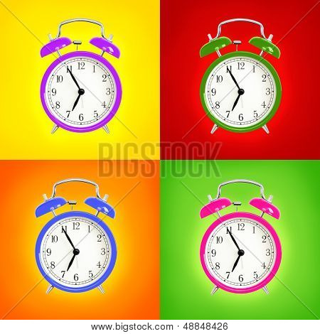 Alarm clocks isolated on colorful background. Pink, blue green and purple wake up alarm clock cut outs. Classic style bell alarm clock.