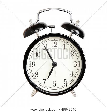 Alarm clocks - black bell alarm clock isolated on white background.