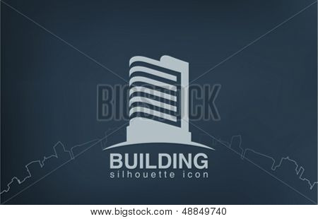 Abstract architecture building silhouette vector logo design template. Skyscrapper real estate icon