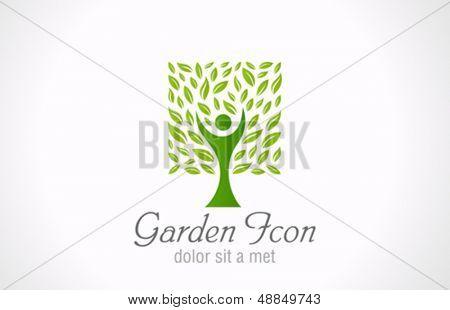 Molde do ícone da árvore verde jardim. Projeto bio de ecologia. Símbolo eco orgânico. Modelo criativo.