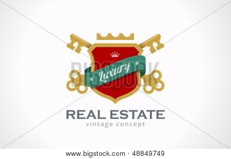 Real Estate Vintage Luxury logo design template. Keys and shield with ribbon. Realty symbol