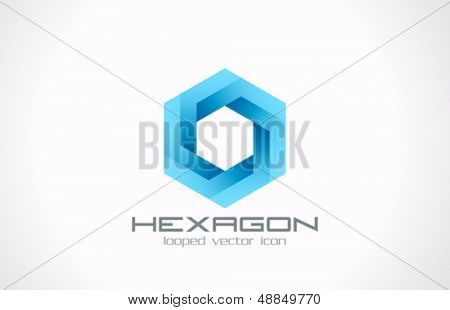 Heaxagon looped vector logo template. Business, Technology and Science theme. Creative design icon.