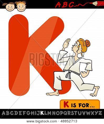 Letter K With Karate Cartoon Illustration