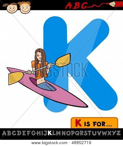 Letter K With Kayak Cartoon Illustration