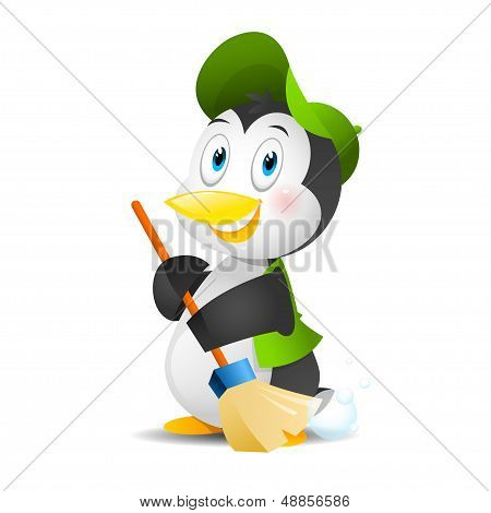 Penguin with a broom