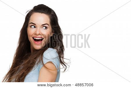 Surprised Woman Looking Over Shoulder